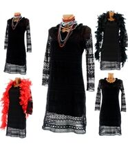 robe et fond de robe dentelle macramé noir  - VICT