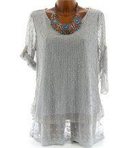 Tunique chemise bohème dentelle ample - margo - gr