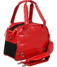 Sac de transport chien rouge matelassé aspect doudoune 41,5x17,5x28cm