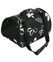 Sac de transport noir flower pour chien et chat 25x43.5x28.5cm