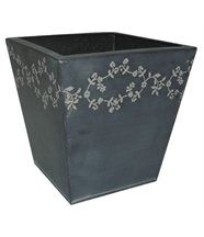 Jardinière fleurie en Zinc Noir carrée 22x22.5x22.5cm