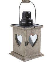Lanterne coeur en bois vieilli