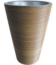 Vase en Rotin synthétique et Zinc  rond 33x48cm