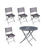 Salon de jardin Boston en acier 4 chaises