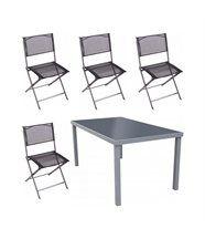 Salon de jardin San Francisco en aluminium et acier 4 chaises