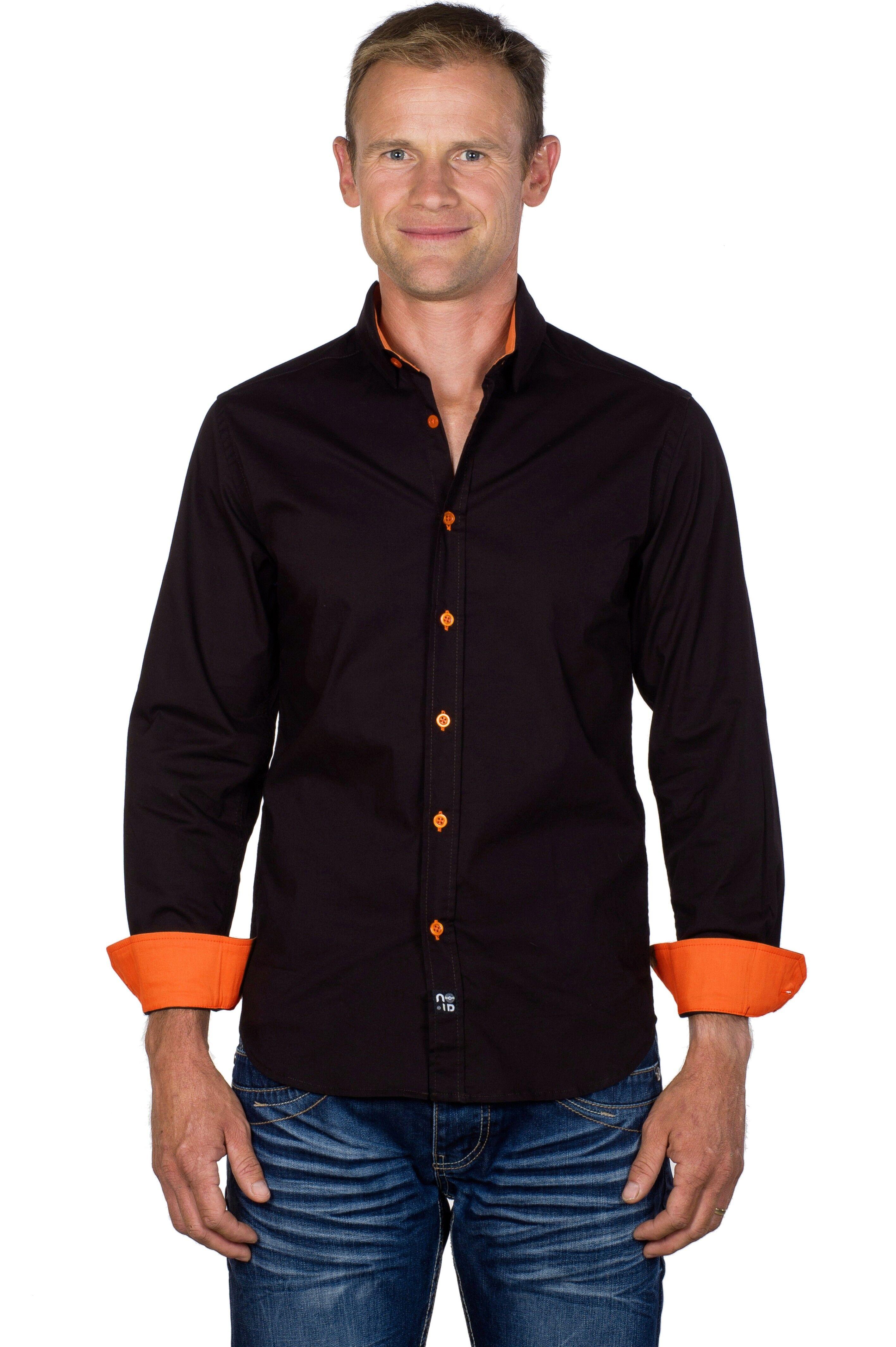 chemise homme coton stretch marron orange ugholin. Black Bedroom Furniture Sets. Home Design Ideas