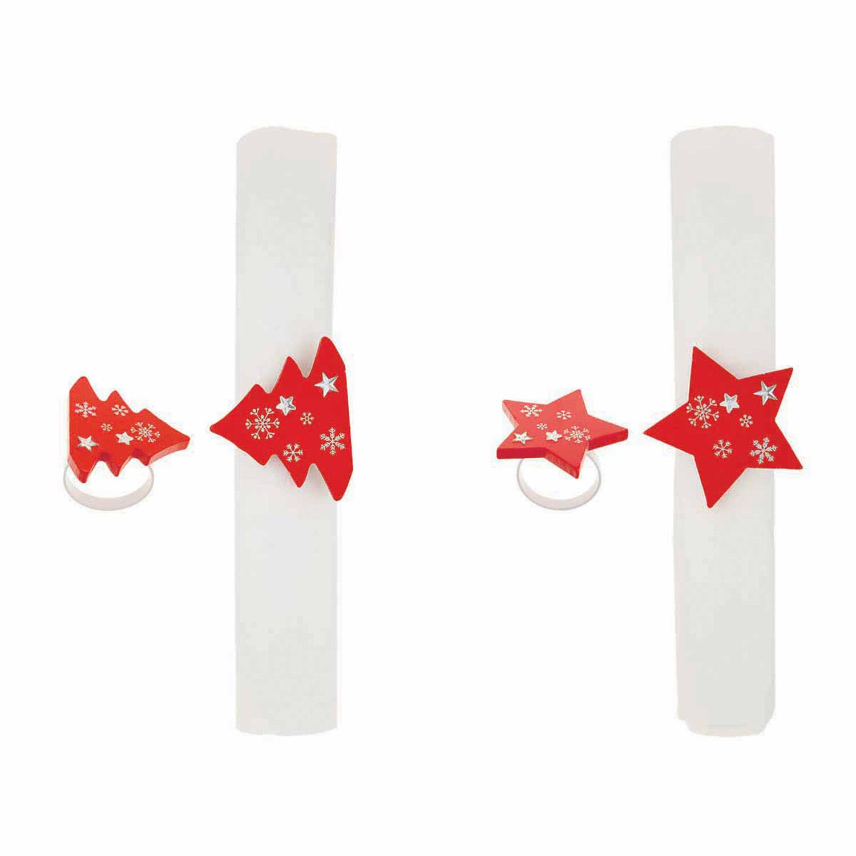 4 ronds de serviette sapin et etoile bois rouge et for Rond de serviette maison