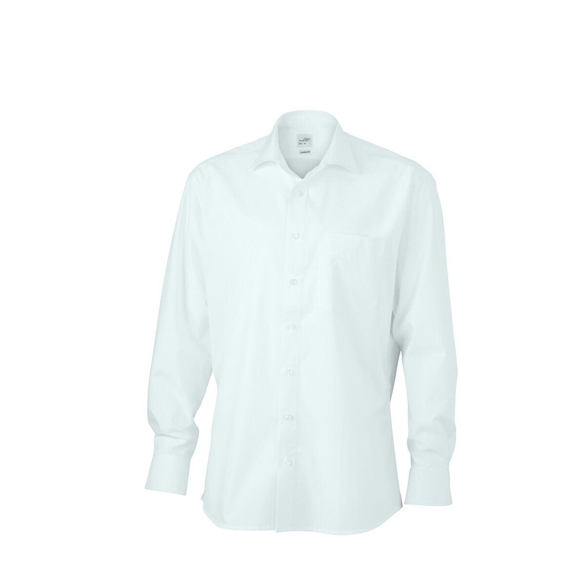 chemise manches longues sans repassage col hai jn620 homme blanc james et nicholson. Black Bedroom Furniture Sets. Home Design Ideas