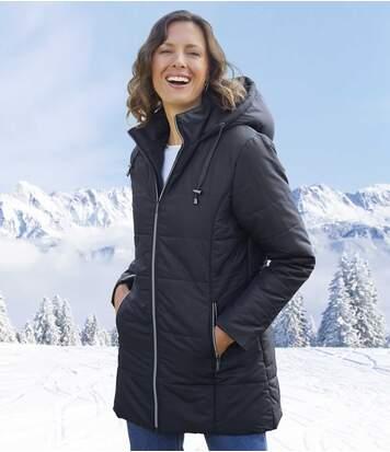 Удлиненная Куртка с Утепленным Капюшоном